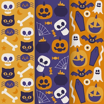 Colección de patrones de halloween de diseño dibujado a mano
