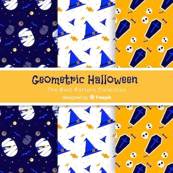Colección de patrones de halloween en diseño plano