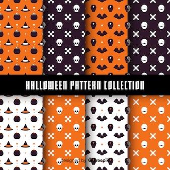 Colección de patrones de halloween con diseño plano