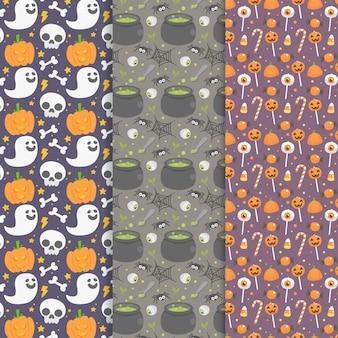 Colección de patrones de halloween de diseño plano