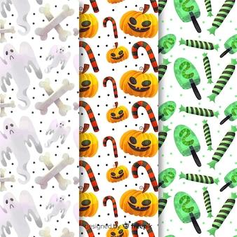 Colección de patrones de halloween de dulces de azúcar