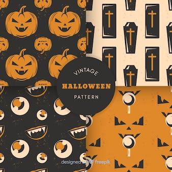 Colección de patrones de halloween estilo vintage