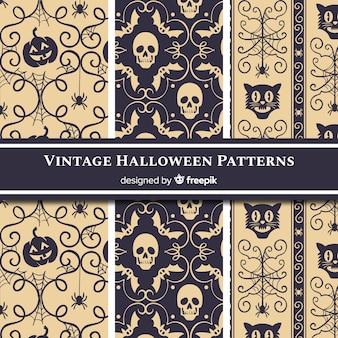 Colección de patrones de halloween con estilo vintage
