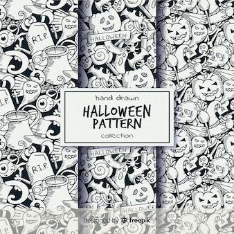 Colección de patrones de halloween pintadas a mano en blanco y negro