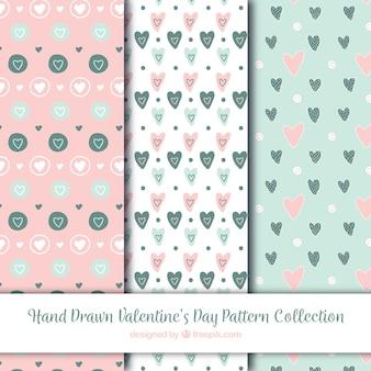 Colección de patrones hechos a mano de san valentín