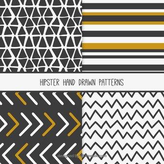 Colección de patrones hipster dibujados a mano