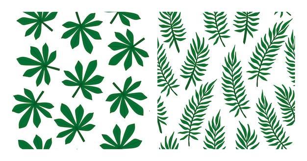 Colección de patrones de hojas tropicales. conjunto de palmera tropical deja patrones sin fisuras. paquete de fondos tropicales exóticos con follaje de palmeras. ilustración de vector para impresión, textil, embalaje.