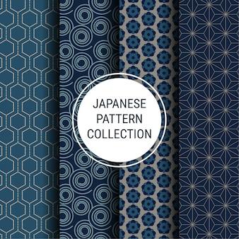 Colección de patrones indigo japonés