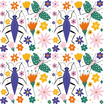Colección de patrones de insectos y flores