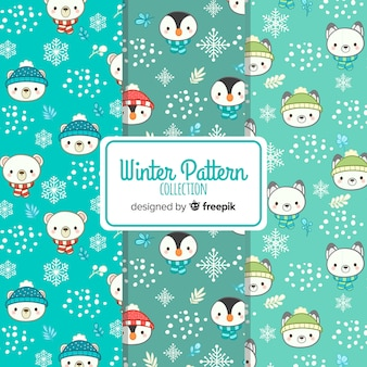Colección patrones invierno caras animales