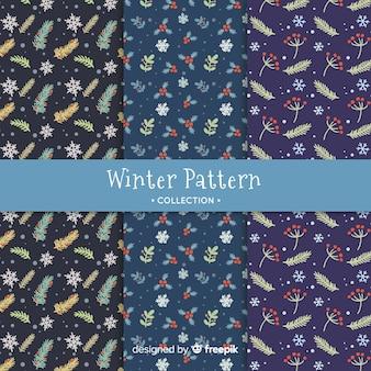 Colección patrones invierno dibujados a mano