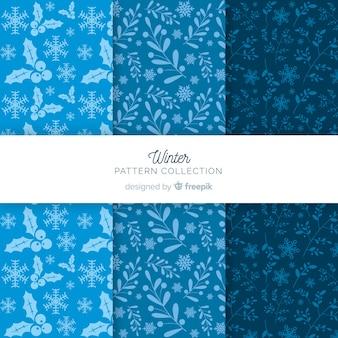 Colección patrones invierno siluetas plantas