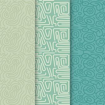 Colección de patrones de líneas redondeadas azules