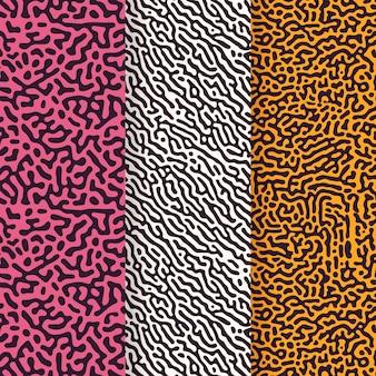 Colección de patrones de líneas redondeadas de laberinto abstracto