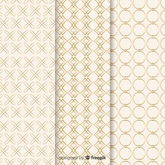 Colección de patrones de lujo con formas geométricas.