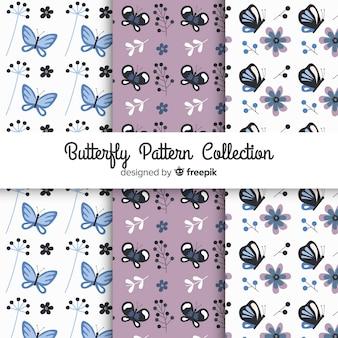 Colección patrones mariposas planas