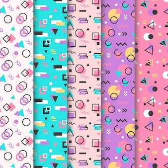 Colección de patrones de memphis en colores pastel