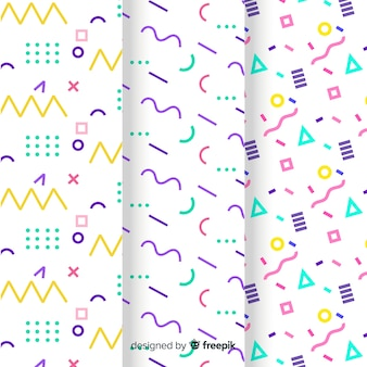 Colección de patrones de memphis con diferentes formas y colores.