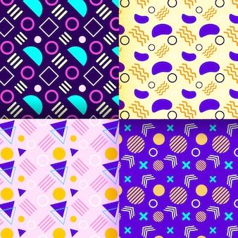 Colección de patrones de memphis con diseños coloridos