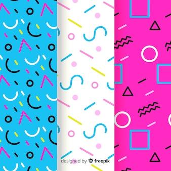Colección de patrones de memphis con formas geométricas.
