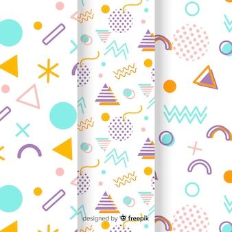 Colección de patrones de memphis con formas multicolores.