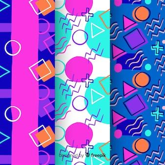Colección de patrones de memphis con formas