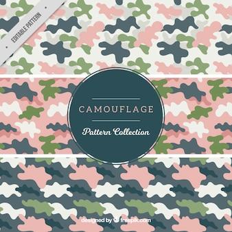 Colección de patrones militares con detalles rosa