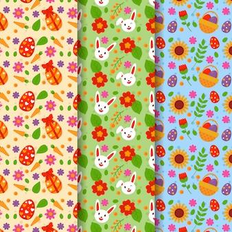 Colección de patrones multicolores del día de pascua