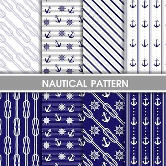 Colección de patrones náuticos azules.