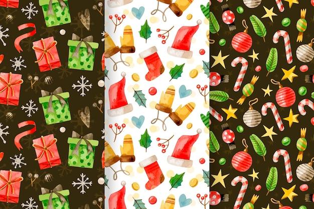 Colección de patrones de navidad en acuarela