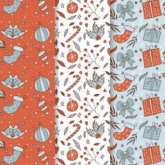 Colección de patrones de navidad dibujados a mano