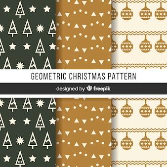 Colección de patrones de navidad con diseño geométrico