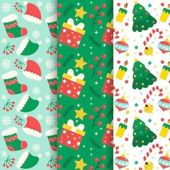 Colección de patrones de navidad de diseño plano