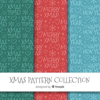 Colección de patrones de navidad en estilo dibujo a mano