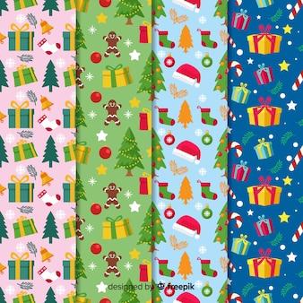 Colección de patrones de navidad estilo de diseño plano