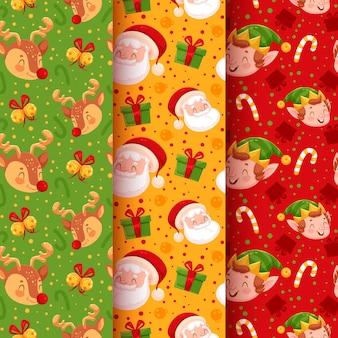 Colección de patrones de navidad con santa