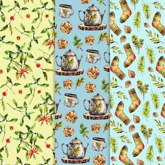 Colección de patrones navideños en acuarela