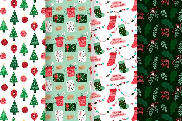 Colección de patrones navideños con árboles y medias