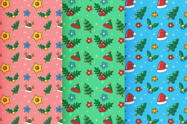 Colección patrones navideños dibujados a mano