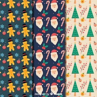 Colección de patrones navideños de diseño plano