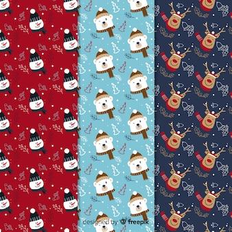 Colección de patrones navideños en diseño plano