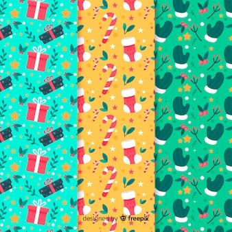 Colección de patrones navideños con diseño plano