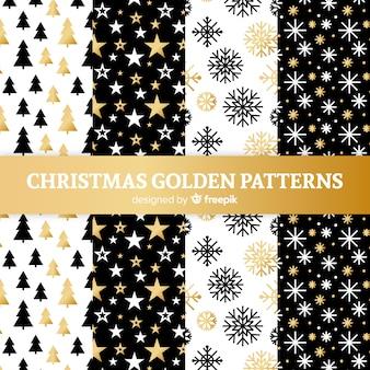 Colección de patrones navideños dorados