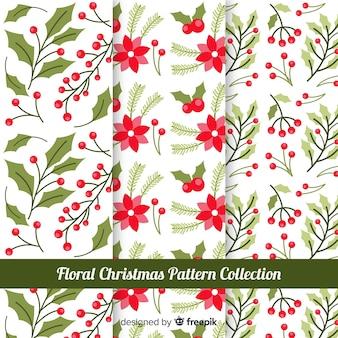 Colección de patrones navideños con flores
