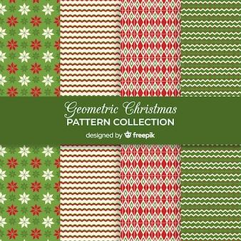 Colección de patrones navideños geométricos