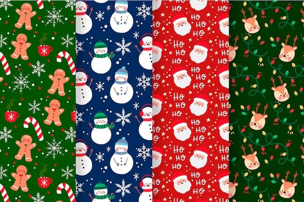 Colección de patrones navideños con hombre de jengibre y muñeco de nieve