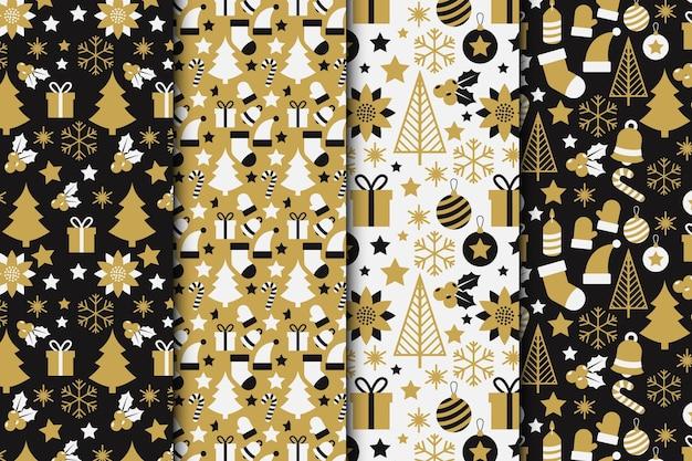 Colección de patrones navideños negros y dorados