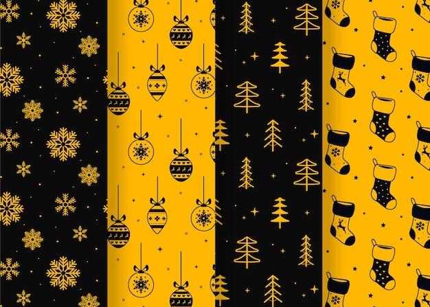 Colección de patrones navideños planos