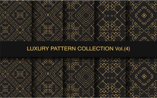 Colección de patrones negros y dorados