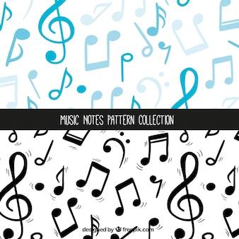 Colección de patrones de notas musicales azul y negro